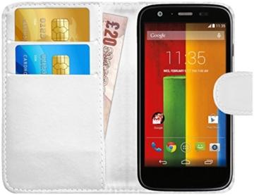 GizzmoHeaven Motorola Moto G Leder Klappetui Schutzhülle Tasche mit Karte Halter Case Cover Etui Hülle für Motorola Moto G mit Displayschutzfolie und Stylus-Stift - Weiß -
