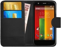 GizzmoHeaven Motorola Moto G Leder Klappetui Schutzhülle Tasche mit Karte Halter Case Cover Etui Hülle für Motorola Moto G mit Displayschutzfolie und Stylus-Stift - Schwarz -