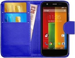 GizzmoHeaven Motorola Moto G Leder Klappetui Schutzhülle Tasche mit Karte Halter Case Cover Etui Hülle für Motorola Moto G mit Displayschutzfolie und Stylus-Stift - Blau -