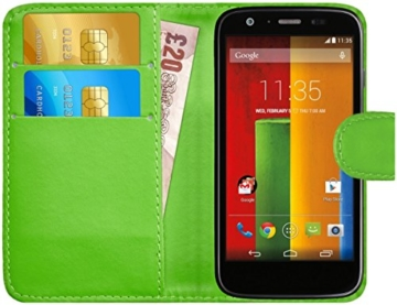 GizzmoHeaven Motorola Moto G Leder Klappetui Schutzhülle Tasche mit Karte Halter Case Cover Etui Hülle für Motorola Moto G mit Displayschutzfolie und Stylus-Stift - Grün -