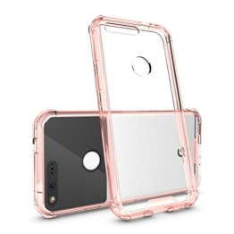 "Google Pixel Case, Heyqie(TM) Transparent Crystal Flexible TPU Slim Body Shield Bumper with Clear Acrylic Backplate Hybrid Protective Phone Cover Case for Google Pixel (2016) 5.0"" - Pink -"