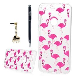 Google Pixel Crystal Case YOKIRIN Ultra Slim Hülle für Google Pixel TPU Silikon Schutzhülle Cover Handyhülle Schale Skin Transparent Bunt Gemalt Flamingo -