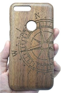 Google Pixel Holzhülle, PhantomSky[Luxus-Serie] NatürlicheHandgemachteBambus / Holz Schutzhülle für Ihr Smartphone (Walnussholz Kompass) -