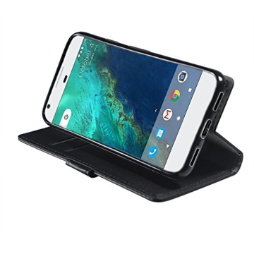 Google Pixel Hülle , Aomo Google Pixel Hülle Leder Brieftasche Cover [Buch-Art] [Karten-Schlitze] [Schlag-Fall] PU Leder Schutz Telefon Hülle für Google Pixel 2016 (5 Zoll)-Schwarz -