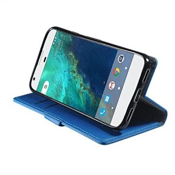Google Pixel Hülle , Aomo Google Pixel Hülle Leder Brieftasche Cover [Buch-Art] [Karten-Schlitze] [Schlag-Fall] PU Leder Schutz Telefon Hülle für Google Pixel 2016 (5 Zoll)-Blau -