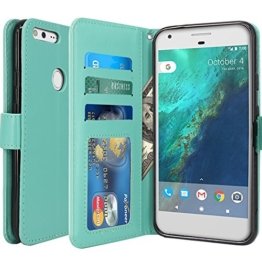 Google Pixel Hülle, LK Luxus PU Leder Brieftasche Flip Case Cover Schütz Hülle Abdeckung Ledertasche für Google Pixel (MintGrün) -