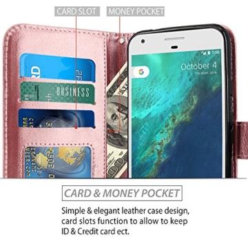 Google Pixel Hülle, LK Luxus PU Leder Brieftasche Flip Case Cover Schütz Hülle Abdeckung Ledertasche für Google Pixel (Rose Gold) -