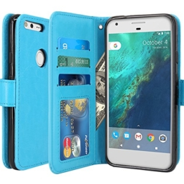 Google Pixel Hülle, LK Luxus PU Leder Brieftasche Flip Case Cover Schütz Hülle Abdeckung Ledertasche für Google Pixel (Himmelblau) -