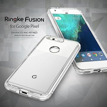 Google Pixel Hülle, Ringke FUSION kristallklarer PC TPU Dämpfer (Fall geschützt/ Schock Absorbtions-Technologie) für das Google Pixel - Rauchschwarz -