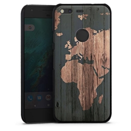 Google Pixel Hülle Schutz Hard Case Cover Weltkarte Holz Erde -