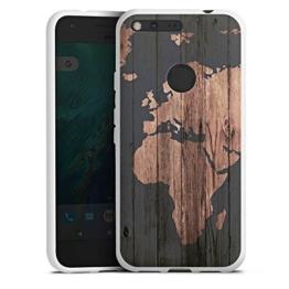 Google Pixel Hülle Silikon Case Schutz Cover Weltkarte Holz Erde -