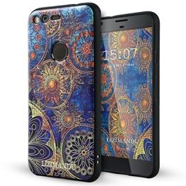Google Pixel hülle,Lizimandu TPU 3D Handyhülle Muster Case Cover Für Google Pixel(Blaue Blume/Blue Flower) -