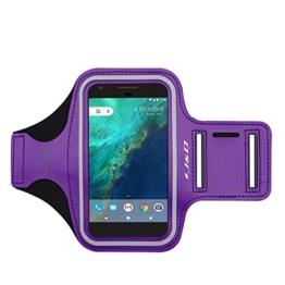 Google Pixel XL Armband, J&D Sport-Armband für Google Pixel XL, zusätzliche Tasche für Schlüssel, perfekte Kopfhörer-Verbindung für unterwegs - Lila -