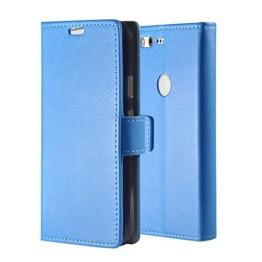 Google Pixel XL Hülle , Aomo Google Pixel XL Hülle Leder Brieftasche Cover [Buch-Art] [Karten-Schlitze] [Schlag-Fall] PU Leder Schutz Telefon Hülle für Google Pixel XL 2016 (5.5 Zoll)-Blau -