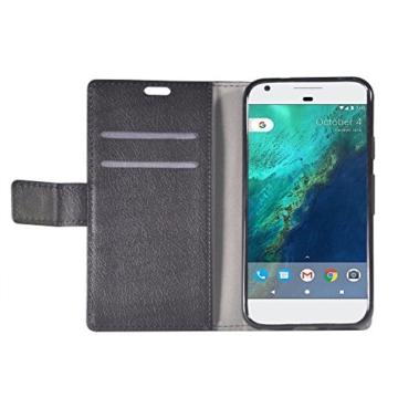 Google Pixel XL Hülle , Aomo Google Pixel XL Hülle Leder Brieftasche Cover [Buch-Art] [Karten-Schlitze] [Schlag-Fall] PU Leder Schutz Telefon Hülle für Google Pixel XL 2016 (5.5 Zoll)-Schwarz -