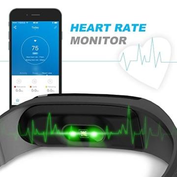 Herzfrequenzmesser Fitness-armband, LETSCOM Pulsuhren Aktivitätstracker Fitness Tracker mit Herzfrequenz-Monitor - Smart Aktivitätstracker Fitnessband Puls-Monitor-Armband Smart Schrittzähler Fitness armband für Android / iOS Smartphone, Bluetooth 4.0 IP67 wasserdichte Armband -
