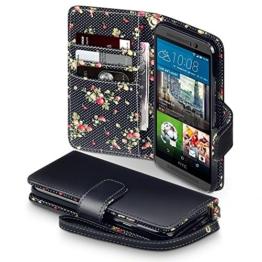HTC One M9 Cover, Terrapin Handy Leder Brieftasche Case Hülle mit Kartenfächer für HTC One M9 Hülle Schwarz mit Blumen Interior -