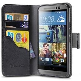HTC one M9 Hülle (2015), i-Blason Dünne Leder Tasche Etui mit Standfuß Halterung, Kreditkarten Steckplätze und ID Stand Halter / Zubehör (Schwarz) -