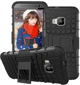 HTC One M9 Hülle Nnopbeclik Hybrid 2in1 TPU+PC Schutzhülle Cover Case Silikon Rüstung Armor Dual Layer Muster Handytasche Backcover 360-Grad-Drehung ständer stoßfest Handy Hülle Tasche Schutz Etui Schale Bumper Pour HTC One M9[Schwarz] -