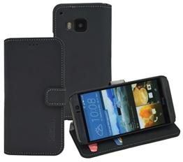 HTC One M9 - Suncase Book-Style (Slim-Fit) Ledertasche Leder Tasche Handytasche Schutzhülle Case Hülle (mit Standfunktion und Kartenfach) antik-schwarz -