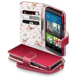 HTC One M9 Tasche, Terrapin Handy Leder Brieftasche Case Hülle mit Kartenfächer für HTC One M9 Hülle Rot mit Blumen Interior -