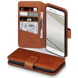 Huawei P10 Case, Terrapin [ECHT LEDER] Brieftasche Case Hülle mit Standfunktion Kartenfächer und Bargeld für Huawei P10 Hülle Cognac -