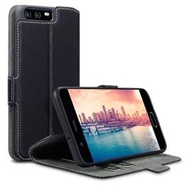 Huawei P10 Case, Terrapin Leder Tasche Case Hülle im Bookstyle mit Standfunktion Kartenfächer für Huawei P10 Hülle Schwarz -