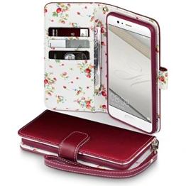 Huawei P10 Cover, Terrapin Handy Leder Brieftasche Case Hülle mit Standfunktion Kartenfächer für Huawei P10 Hülle Rot mit Blumen Interior -