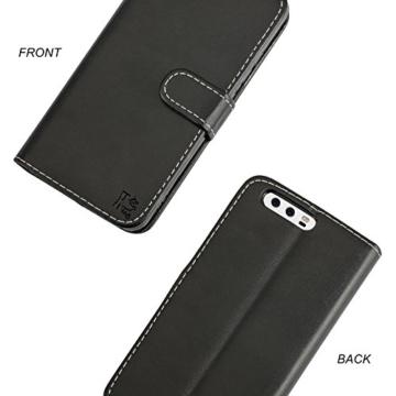 Huawei P10 Hülle, KingShark [Ständer Funktion] Huawei P10 Schutzhülle, Premium PU Leder Flip Tasche Case mit Integrierten Kartensteckplätzen und Ständer für Huawei P10-Leder Serie schwarz -