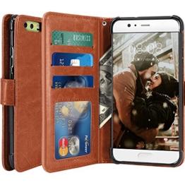 Huawei P10 Hülle, LK Luxus PU Leder Brieftasche Flip Case Cover Schütz Hülle Abdeckung Ledertasche für Huawei P10 (Braun) -