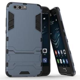 Huawei P10 Plus Koffer, Bügeleisen Stil Premium 2 In 1 Kunststoff und TPU Rüstung Shockproof schützende Hard zurück Fall Deckung mit TV Halter für Huawei P10 Plus ( Color : Black Blue ) -