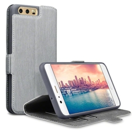 Huawei P10 Tasche, Terrapin Leder Tasche Case Hülle im Bookstyle mit Standfunktion Kartenfächer für Huawei P10 Hülle Grau -
