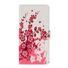 Hülle Für LG G6,Sunrive Magnetisch Schaltfläche Ledertasche Schutzhülle Etui mit Standfunktion Cover Tasche Case Handyhülle Kartenfächer Kreditkarte Taschen Schalen Handy Tasche Flip Wallet Stil Lederhülle(G Pflaumenblüte )+Gratis Universal Eingabestift -