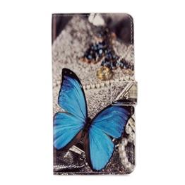 Hülle Für LG G6,Sunrive Magnetisch Schaltfläche Ledertasche Schutzhülle Etui mit Standfunktion Cover Tasche Case Handyhülle Kartenfächer Kreditkarte Taschen Schalen Handy Tasche Flip Wallet Stil Lederhülle(G blauer Schmetterling)+Gratis Universal Eingabestift -