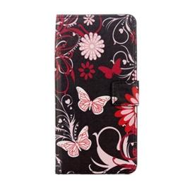 Hülle Für LG G6,Sunrive Magnetisch Schaltfläche Ledertasche Schutzhülle Etui mit Standfunktion Cover Tasche Case Handyhülle Kartenfächer Kreditkarte Taschen Schalen Handy Tasche Flip Wallet Stil Lederhülle(G weißer Schmetterling)+Gratis Universal Eingabestift -