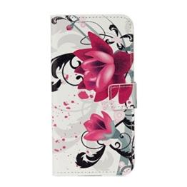Hülle Für LG G6,Sunrive Magnetisch Schaltfläche Ledertasche Schutzhülle Etui mit Standfunktion Cover Tasche Case Handyhülle Kartenfächer Kreditkarte Taschen Schalen Handy Tasche Flip Wallet Stil Lederhülle(G lila Blüten)+Gratis Universal Eingabestift -