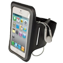 igadgitz Schwarz Reflektierende Anti-Rutsch Neopren Sports Armband Oberarmtasche Tasche Schutz Hülle Etui Case für Apple iPhone SE, 5S, 5C & 5 4G LTE -