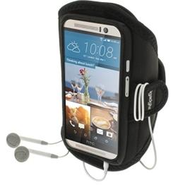 igadgitz Wasserabweisend Schwarz Sports Jogging Armband Laufen Fitness Oberarmtasche für HTC One M9 (2015) -