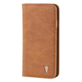 iPhone 7 Ledertasche / Hülle. Echtes, dünnes Leder mit Standfunktion und Bargeld- / Visitenkartenslot, Braun von TORRO -