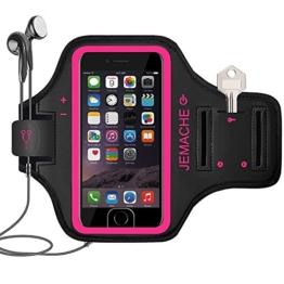 iPhone 7/7 Plus Armband, JEMACHE Unterstützt Fingerabdruck ID Touch Running Training Gym Arm Band Schutzhülle für iPhone 6/6S/7, iPhone 6/6S/7 Plus (Rosig, iPhone 7) -