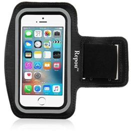 iPhone SE Armband, Repou Neoprene Sports Fitnesszentrum Jogging Armband iPhone SE Armtasche Tasche Oberarmtasche Schutz Hülle Etui Case Schwarz -