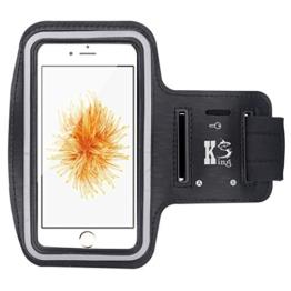 iPhone SE Armband - Sports Armband for iPhone SE Water Resistant + Sweat Proof + Key Holder (Black) -