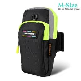 Keynice Outdoor Armband Handytasche Multifunktionale Doppel Armtasche für iPhone 6s 6 SE 5s 5c 5, Samung Galaxy S7 S6 S5 mit der Größe, die kleiner als 4.8 Zoll - M Type (Schwarz) -