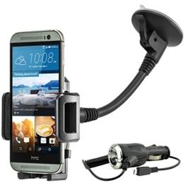 KFZ Auto Schwanenhals Handy Halterung Halter für Windschutzscheibe für HTC One M8 / M9 inkl. KFZ-Ladekabel -