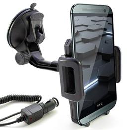 KFZ Set für HTC One / mini / mini 2 / max / S9 / M8 / M8s / E8 / M9 / A9 / A9s / und Desire 825 / 820 / 816 / 728G / 628 / 626 / 626G / 620 / 610 / 530 / 526G / 510 / 320 / 310 / 300 / EYE / auch Dual SIM Modelle / KFZ Halterung für die Windschutzscheibe in schwarz inkl. Auto Ladekabel -