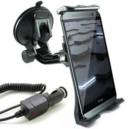 KFZ Set für HTC One / mini / mini 2 / max / S9 / M8 / M8s / E8 / M9 / A9 / A9s / und Desire 825 / 820 / 816 / 728G / 628 / 626 / 626G / 620 / 610 / 530 / 526G / 510 / 320 / 310 / 300 / EYE / auch Dual SIM Modelle / KFZ Halterung (Mod:2) inkl. Auto Ladekabel -