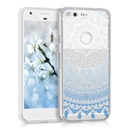 kwmobile Crystal Case Hülle für Google Pixel aus TPU Silikon mit Indische Sonne Design - Schutzhülle Cover klar in Blau Weiß Transparent -