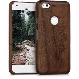 kwmobile Holz Hülle Natur Case für Google Pixel - Handy Schutzhülle Cover mit Walnussholz Halbblume Design in Dunkelbraun -