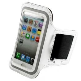 kwmobile Sport Armband für > Apple iPhone SE / 5 / 5S < - Jogging Lauf Sporttasche Fitnessband mit Schlüsselfach im Sportarmband in Weiß -