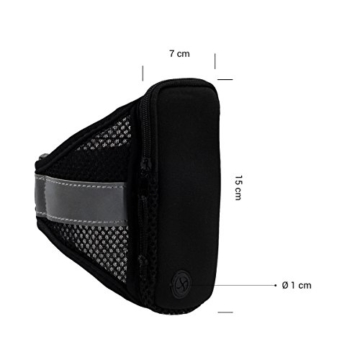 kwmobile Sport Jogging Armband für Smartphones mit Reißverschluss und praktischem Klettverschluss in Schwarz -